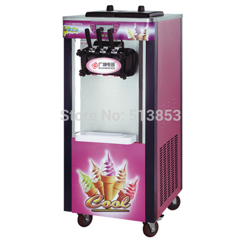 25 litre/H, 220 v-60 hz, New-3-Head-Soft-Ice-Cream-Yogurt-Machine