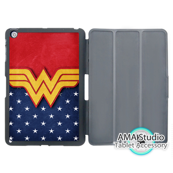 Wonder woman logo retro case apple ipad mini 1 2 3 4 hava pro için 9.7 akıllı folio kapak standı